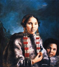 Painting of an Inuit woman named Mikak and her son Tukauk  by John Russell in 1769