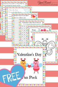 Free Valentine's Day Fun Pack - By Year Round Homeschooling