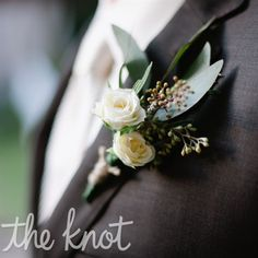 The men will wear boutonnieres of spray roses, seeded eucalyptus, dusty miller, and privet berries wrapped in twine