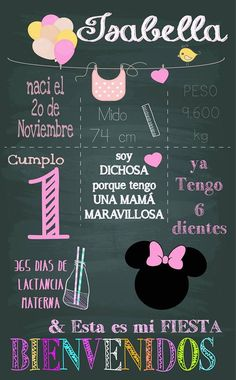 cuadros de cumpleaños - Chalk Birthday Minnie Mouse Pink, Minnie Mouse Party, Mouse Parties, Minnie Birthday, Baby Birthday, Kids Birthday Party Invitations, Baby Party, First Birthdays, Party Time
