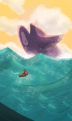 love the waves and sky in this illustration!