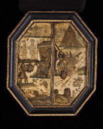 17th century needlework depicting David and Goliath