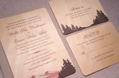 Real Wood Wedding Invitations  Mountain Scene by woodchickstudios, $10.00