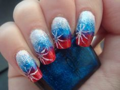 Firework Gradient July 4th Nails