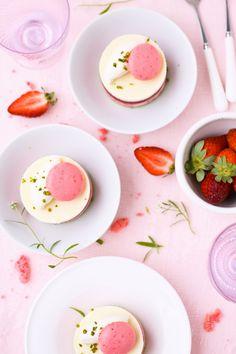 Roasted Rhubarb, Strawberry, White Chocolate and Pistachio Mousse Tarts (gluten free)