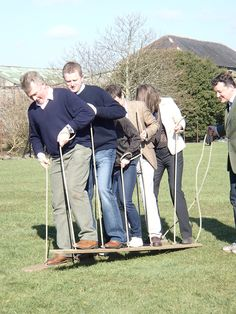 team building games in the paddock at Larchfield very beginning of April 2013
