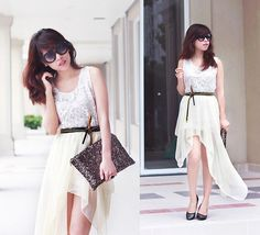 Two can play that game. (by Linda Tran N) Linda Tran, Malaysian Hair, Asymmetrical Skirt, Skirt Fashion, High Low, Girly, Style Inspiration, Canning, Stylists