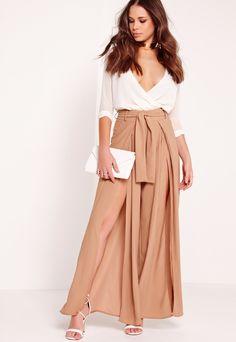 Split Front Palazzo Trousers Tie Belt Tan, Brown
