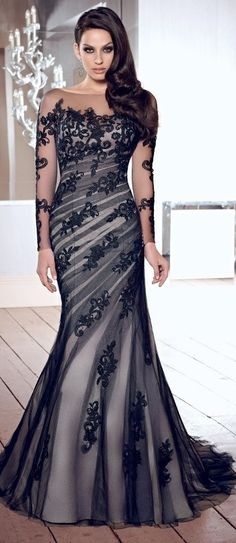 Luxurious Scoop Mermaid Appliques Long Sleeves V-back Prom Dresses 96595ce6f8cb