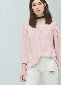 Bluse mit bateau-ausschnitt - Blusen für Damen | MANGO Deutschland