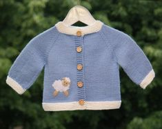 Blue lamb jacket knitted baby jacket with white sheep knit wool sweater MADE TO ORDER