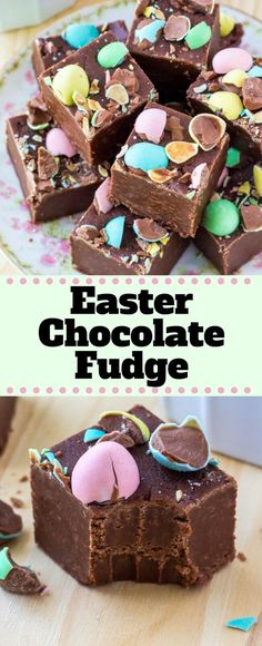 Creamy, smooth Easter Chocolate Fudge that's super easy to make & so pretty. You'll love that this recipe using marshmallow cream only takes 10 minutes! #easter #recipes #fudge #minieggs