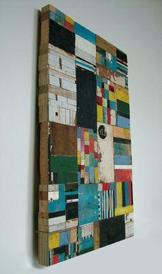 Wood mosaic wall art.