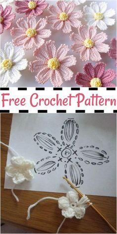 Beau Crochet, Crochet Daisy, Diy Crochet, Crochet Crafts, Crochet Flowers, Crochet Projects, Crochet Birds, Crochet Stars, Diy Crafts
