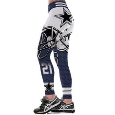 Unisex NFL Team Dallas Cowboys Logo Yoga Leggings Woman Fitness Leggings  Gym Workout Pants Fitness Logo 829511e379a