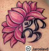 an om sign and a lotus flower. Tribal Tattoos, Yoga Tattoos, Elephant Tattoos, Line Tattoos, Trendy Tattoos, Flower Tattoos, Small Tattoos, Tattoos For Guys, Sleeve Tattoos