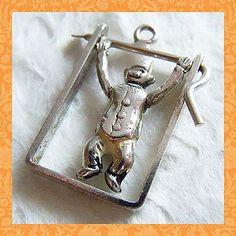 Vintage Acrobat Clown on Trapeze Sterling Charm ~ Moves! $48
