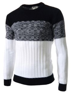 (FFT23-BLACK) Mens Slim Fit Color Block Crew Neck Knit Long Sleeve Tshirts
