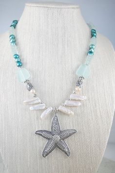 Starfish Pendant Necklace Sea Glass Necklace by ShadesofyouJewelry