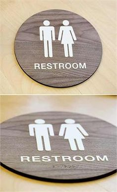 Go to Wood Restroom Signage -  ADA Braille $66 for both a men and women's sign