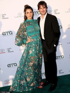 Date night: Nikki Reed, 29, and Ian Somerhalder, 38, stepped out at the EMA Awards at Barker Hangar in Santa Monica, CA