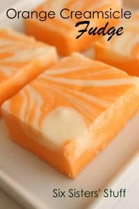 Six Sisters Orange Creamsicle Fudge Recipe on MyRecipeMagic.com This would be perfect for your Halloween Party.
