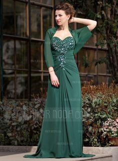 A-formet/Prinsesse Sweetheart Feie Train Chiffong Kjole til brudens mor med Frynse Blonder Perlebesydd Paljetter (008018747)
