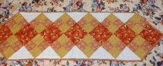 Pumpkin Quilted Table Runner Fall Autumn Harvest Orange Gold