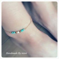 ハンドメイドマーケット minne(ミンネ)| Turquoise Anklet