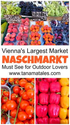 Naschmarkt, the largest outdoor market in Vienna, Austria. It is perfect to get a sample of typical Austrian and international food.