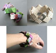 """Armband aus receyceltem Papier Diese tolle Idee habe ich in den Weiten des """"Internetzes"""" entdeckt und fand sie so toll, daß ich es gleich ausprobieren mußte – und ich bin begeistert :-) Es geht wirklich sehr einfach und schnell, es … mehr"""