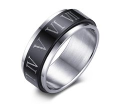 FANSING Jewelry Mens 8mm Two Tone Stainless Steel Ring with Capital Rome Numerals -- Awesome products selected by Anna Churchill