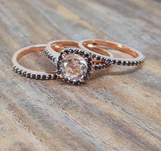 Sale 2 carat Morganite and Black Diamond Trio Wedding Ring Bridal Ring Set in 10k Rose Gold with One Engagement Ring and 2 Wedding Bands by JeenMata on Etsy https://www.etsy.com/listing/514813689/sale-2-carat-morganite-and-black-diamond