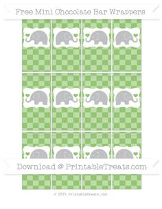 Pistachio Green Checker Pattern Elephant Mini Chocolate Bar Wrappers