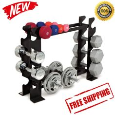 Dumbbell Rack Fitness Weight Barbell Gym Home Workout Exercise Equipment Set NEW #ad