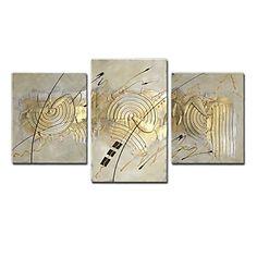 【楽天市場】【今だけ 送料無料】現代アートなモダン キャンバスアート 絵 壁 壁掛け 油絵風の特大抽象画3枚で1セット 抽象画 ゴールド 金色 お祝い お正月 床の間に【納期】お取り寄せ2~3週間前後で発送予定:ベッドソファならラッキードンキー