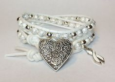 Lung Cancer Awareness Double Wrap Bracelet w/ by DesignsByJen1,