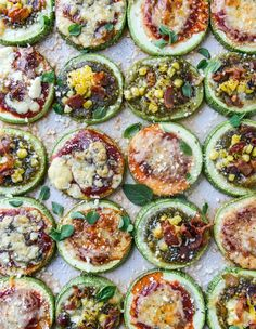 Recipe for Mini Zucchini Pizzas Three Ways via How Sweet Eats