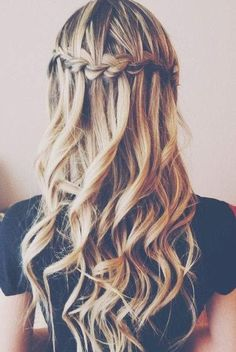 Long Curly Hairstyles Waterfall braid into wavy hair Braided Hairstyles, Wedding Hairstyles, Cool Hairstyles, Straight Hairstyles, Curly Haircuts, Straight Updo, Hairstyle Ideas, Beautiful Hairstyles, Formal Hairstyles
