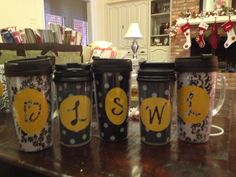 Personalized travel mugs for each teacher. Inside is a small bag of homemade chai tea mix. Oilcloth and Cricut vinyl used to personalize mugs. Homemade Chai Tea, Personalized Travel Mugs, Oilcloth, Cricut Creations, Cricut Vinyl, Pta, Gift List, Teacher, Crafts