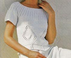 Pullover bianco scollo tondo ai ferri