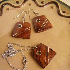 Gift Set Wooden Jewelry Inlaid Desert Ironwood di ElkAndIron
