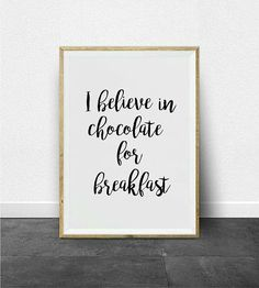 Calligraphy Print, Calligraphy Handwriting, Printable Wall Art, Wall Art Decor, Believe, Typography, Chocolate, Prints, Etsy