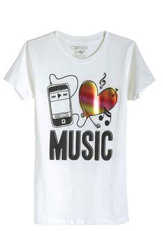 dELiAs > I Love Music Tee > tops > graphic tees > music