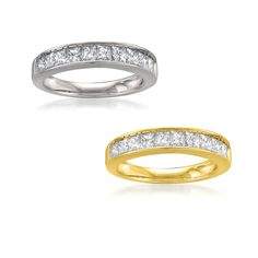 Montebello 14k Gold 1ct TDW Certified Princess-cut Diamond Wedding Ring