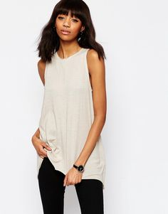 ASOS Vest with Dip Back in Textured Jersey
