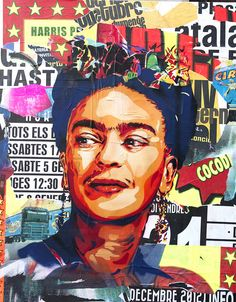 Collage Frida Kahlo - iconic woman from pop culture. Collage Stencil, spraypaint and collage on canvas by BTOY Diego Rivera, Frida E Diego, Frida Art, Art Du Collage, Mixed Media Collage, Art Pop, Self Portrait Art, Street Art, Identity