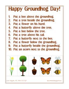 Free speech therapy worksheets and activities (articulation, receptive& language) for speech-language pathologists, teachers, parents. Speech Therapy Worksheets, Speech Language Therapy, Speech Therapy Activities, Language Activities, Speech And Language, Receptive Language, Speech Pathology, Music Therapy, Preschool Groundhog