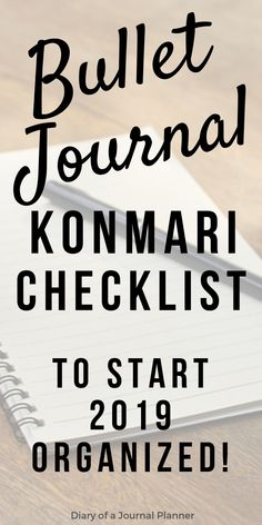 How to use A Konmari Bullet Journal to declutter and get organized. Includes Konmari Checklist as free bullet journal printable. Bullet Journal For Beginners, Bullet Journal 2019, Bullet Journal How To Start A, Bullet Journal Junkies, Bullet Journal Spread, Bullet Journal Layout, Bullet Journal Inspiration, Bullet Journals, Art Journals