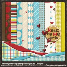 """""""Kitschy Hearts"""" : 12 papiers (à télécharger en 2 fichiers zip)"""